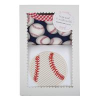 Baseball Burp Pad & Medium Bib Box Set