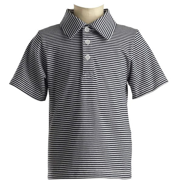 Striped Jersey Polo - Navy