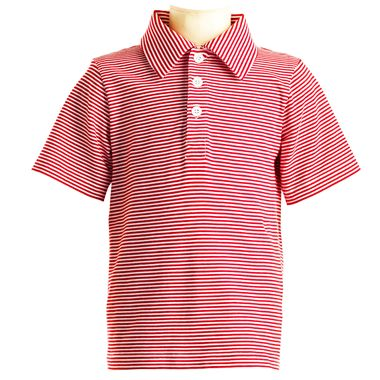 Striped Jersey Polo - Red