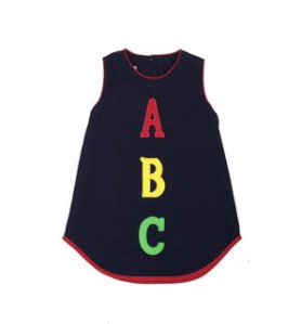 Annie Apron Dress- Nantucket Navy with ABC Applique & Yellow Flower Button