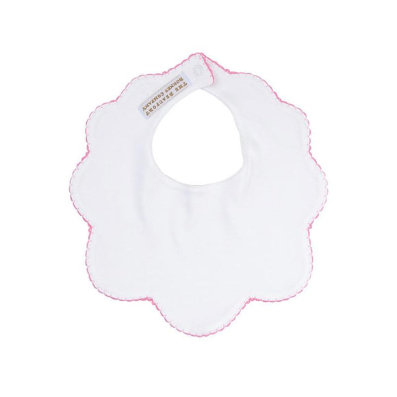 Bellyfull Bib - White with Plantation Pink Picot Trim