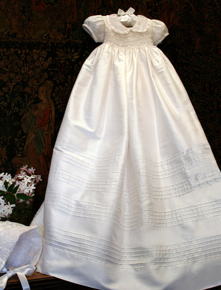 Heirloom Silk Christening Gown with Bonnet - Ivory