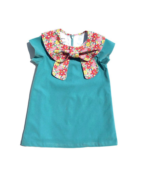 Bow Dress - Teal Velvet