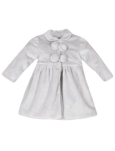 Faux Fur Toddler Coat - Pearl Gray