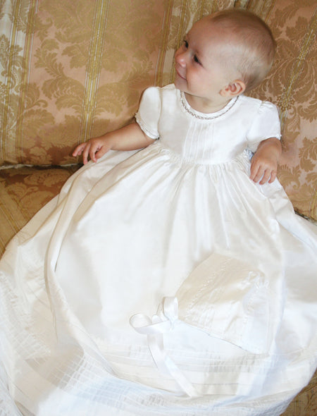 Lovely Cotton Batiste Christening Gown with Bonnet - White