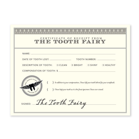 Tooth Fairy Receipt Notecard Set
