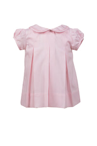 Classic Peony Pleat Dress -  Pink with Pink Trim
