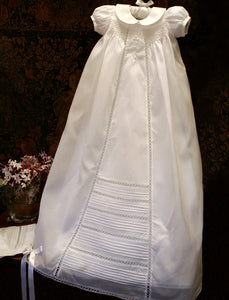 Romance Silk Christening Gown with Bonnet - Ivory