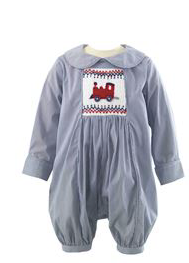 Toy Train Smocked Babysuit