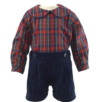Tartan Shirt & Velvet Short Set - Red & Navy