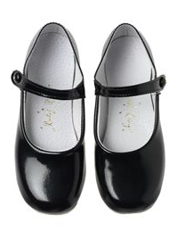 Patent Button Strap Slippers - Black Patent
