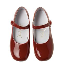Patent Button Strap Slippers -  Scarlet Red Patent