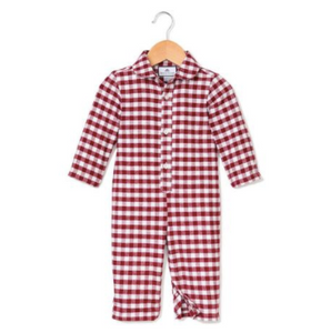Burgundy Gingham Flannel Romper