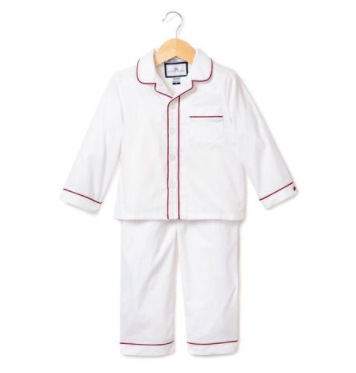 Classic White Pajamas with Burgundy Double Piping