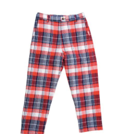 Alex Flat Front Pants - Red, Navy & Cream Plaid