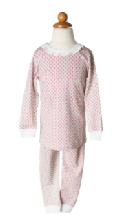 Girls' 2 Piece Pajama Set Ruffled Neck - Hearts