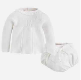 Baby Girl Set of Jumper & Bloomers - White