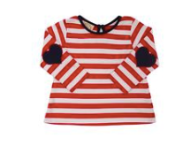 Eloise's Elbow Patch Top - Richmond Red Stripe with Navy Heart Elbow Patches