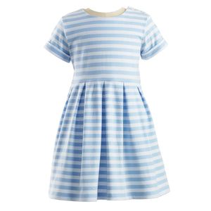 Striped Jersey Dress - Blue & Ivory