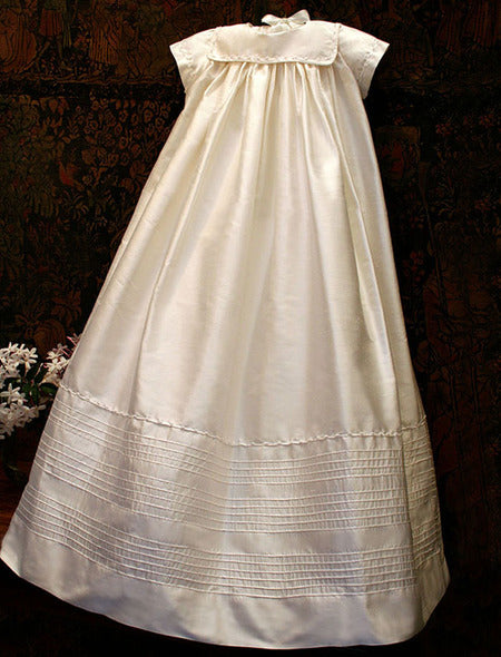 Traditional Cotton Batiste Christening Gown with Bonnet - White
