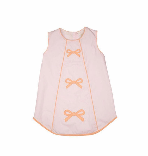 Annie Apron Dress - Plantation Pink with Seashore Sherbert Gingham Bow Appliques