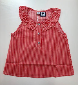 Eileen Top - Coral White Stripe