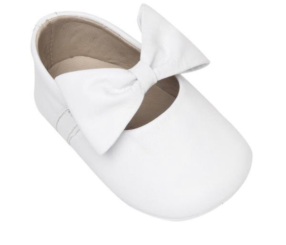 Baby Ballerina With Bow- Leather White (BB23)