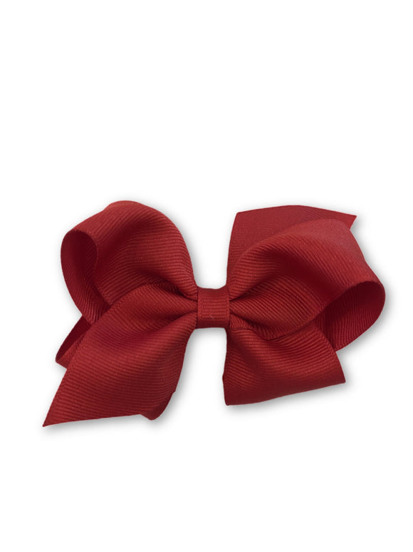 Small Solid Grosgrain Hair Bow - Red (RED) Style: 7662-G