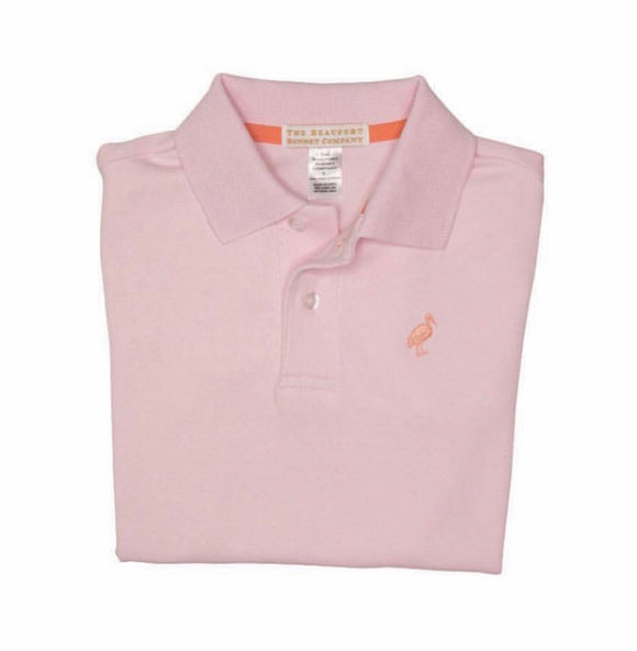 Prim & Proper Polo - Plantation Pink with Seashore Sherbert Stork