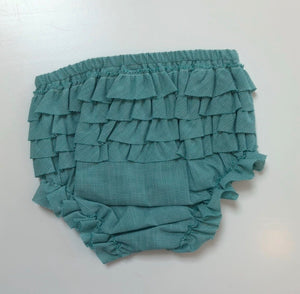 Gigi Ruffle Bloomer - Green Mini Check