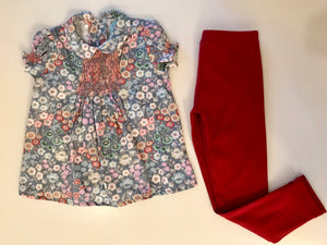 Nora Shirt (Short Sleeve) - Blue Floral Smocked & Jane Leggings Terracotta Set