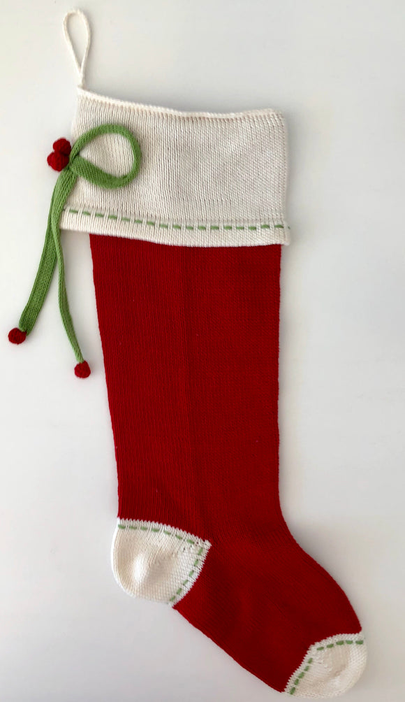 Stocking with Gift Bow & Stitching, Red, Ecru, & Green