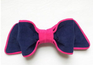 Frances Bow with French Clip - Navy Corduroy with Hot Pink Cording