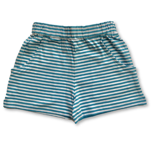 Striped Knit Shorts - Aqua & White
