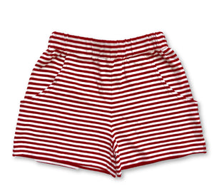 Striped Knit Shorts - Red & White
