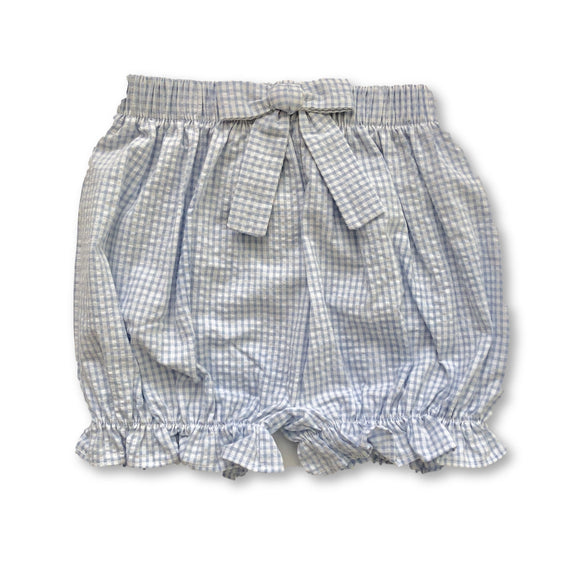 Bow Bloomer Shorts - Mini Light Blue Seersucker Gingham