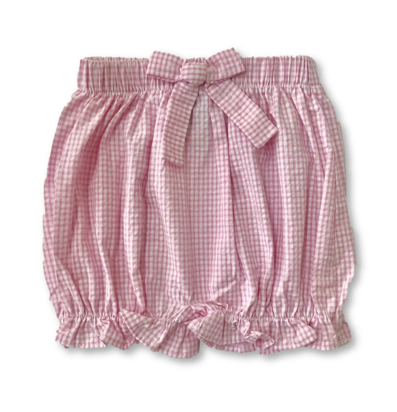 Bow Bloomer Shorts - Mini Pink Seersucker Gingham