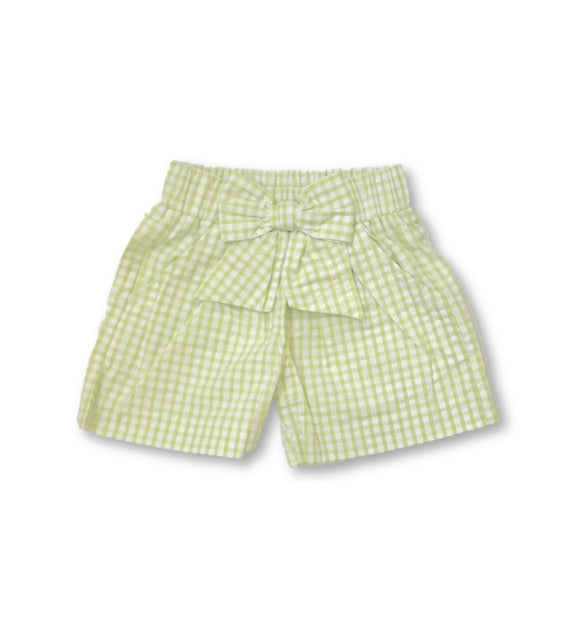 Bow Short - Light Green Seersucker Gingham