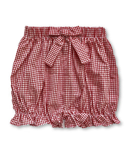 Bow Bloomer Shorts - Mini Red Seersucker Gingham