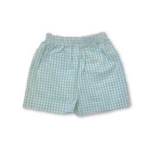 Basic Boy Short - Aqua Seersucker Gingham