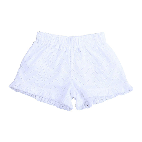 Lee Lee Ruffle Short - White Eyelet