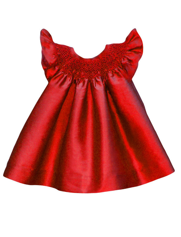 Hand Smocked & Hand Embroidered Bishop Dress - Red
