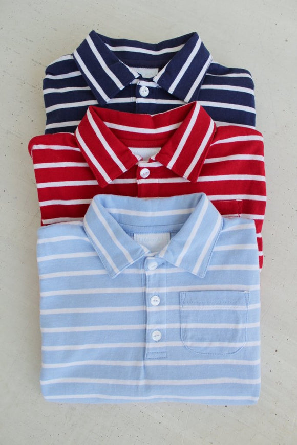 Striped Eaton Collar Shirt - Blue/White