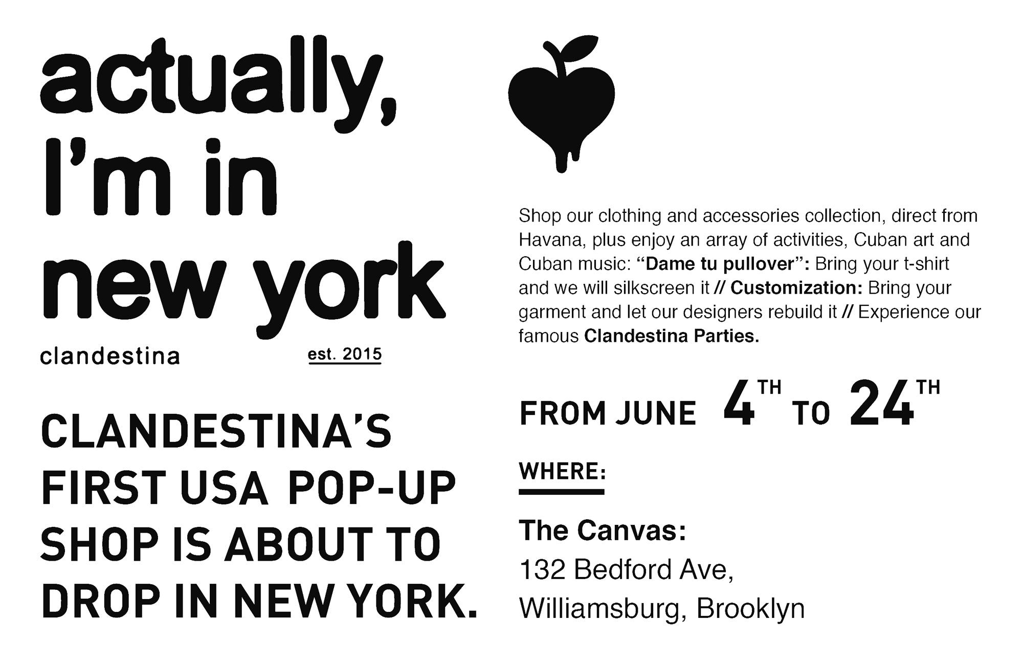 pop-up Clandestina New York