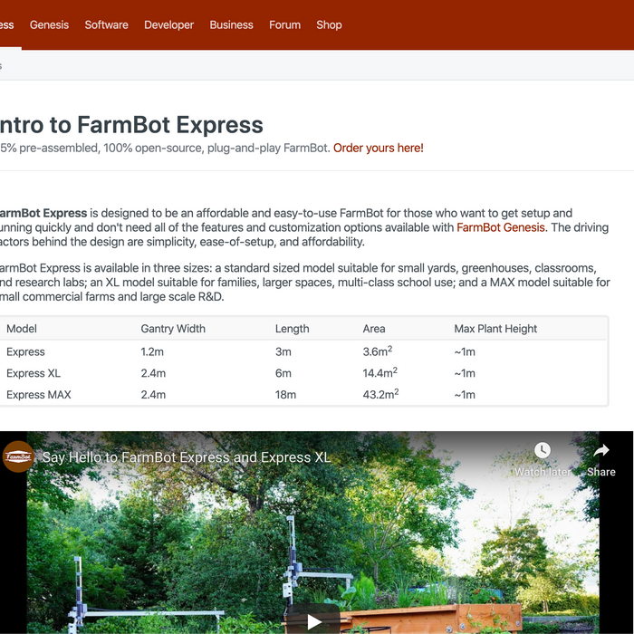 Introducing the FarmBot Express Documentation Hub