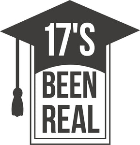 17's Been Real Graduation Cap Cartoon Icon Vinyl Sticker Decal