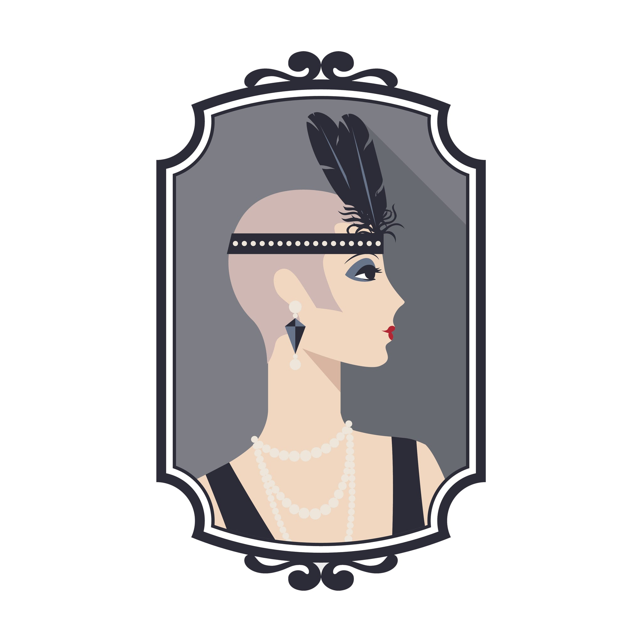1920's Flapper Girl in Frame Vinyl Decal Sticker