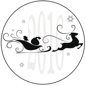 2016 Christmas Holiday Santa Sleigh and Reindeer Silhouette Vinyl Decal Sticker