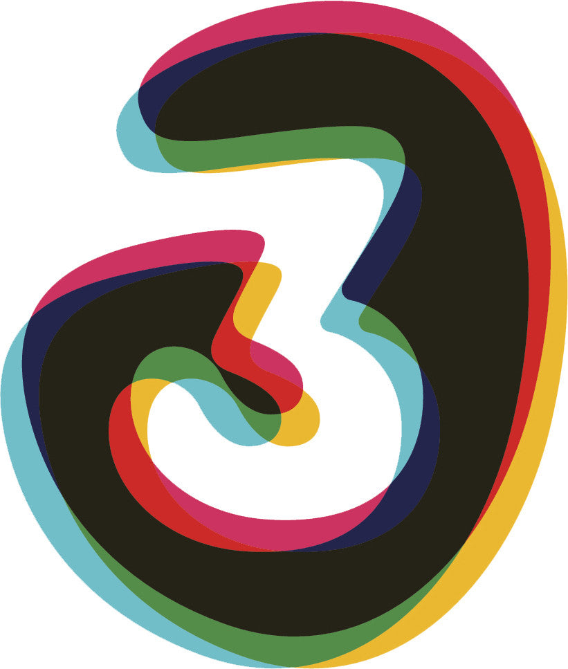 3-D Numerical Number Icon #3 Vinyl Decal Sticker