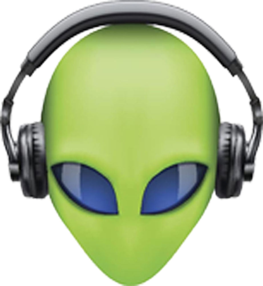 Creepy Green 3D Alien Head with Blue Eyes and Headphones Vinyl Decal Sticker